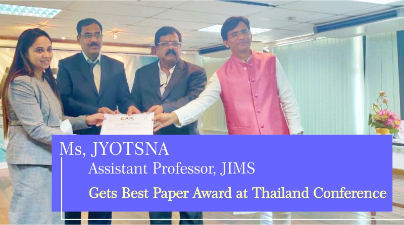 JIMS Faculty Gets Best Paper Award At Thailand Conference